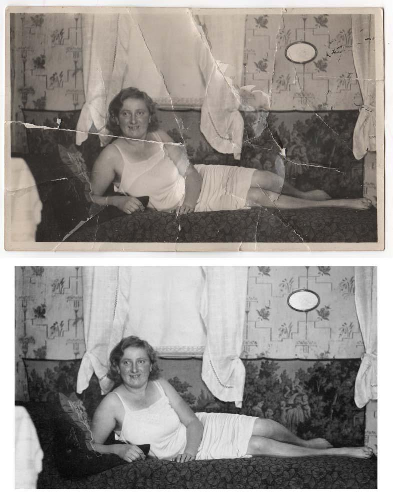 Example of photo restoration (major damages)