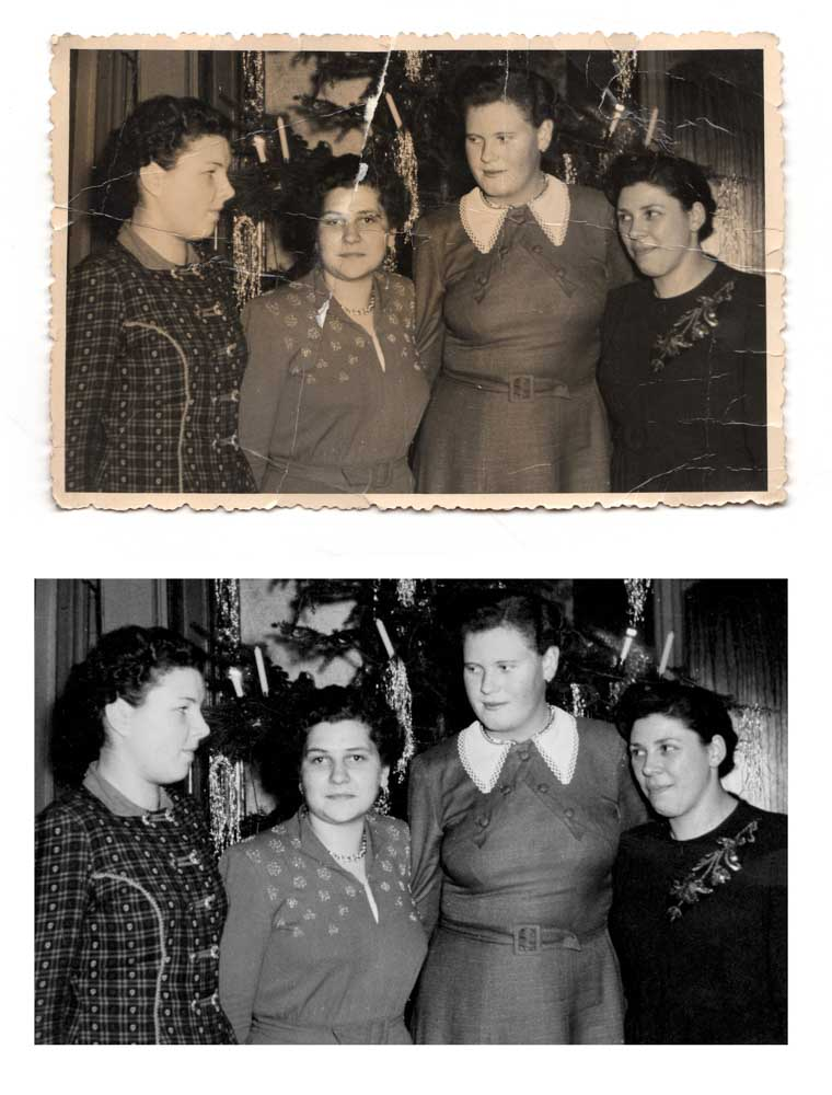 before and after image of four sisters next to a Christmas tree