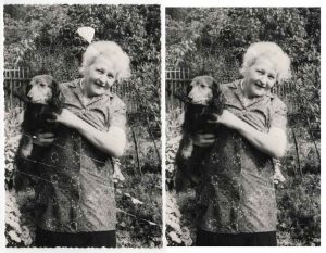 restored image of a woman holding a dog